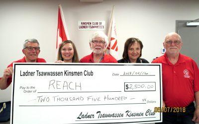 Ladner-Tsawwassen Kinsmen Present cheque to REACH